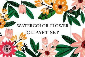 Watercolor Flower Clipart Set