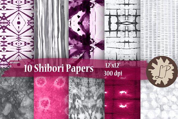 Silver-Pink Shibori Papers