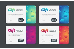 Gift voucher set. Modern template with futuristic pattern. Trendy discount plastic card. Vector mockup.