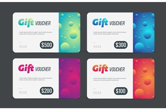 Gift Voucher Set Modern Template With Futuristic Pattern Trendy Discount Plastic Card Vector Mockup