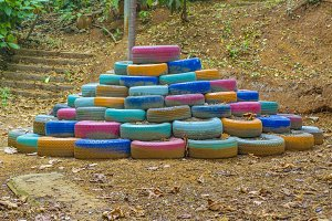 Pile of Colored Tires at Nature