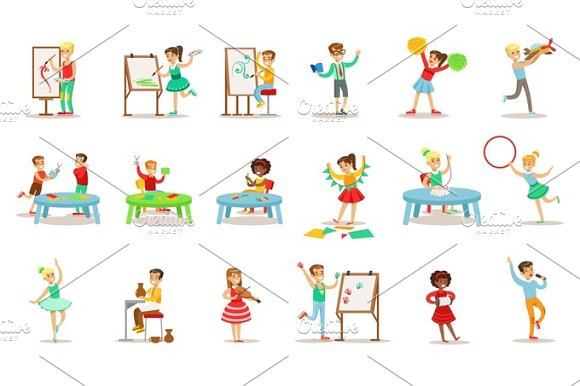 Creative Children Practicing Different Arts And Crafts In Art Class And By Themselves Set Of Kids And Creativity Themed Illustrations
