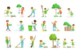 Children Helping In Eco-Friendly Gardening, Planting Trees, Cleaning Up Outdoors, Recycling The Garbage And Watering Sprouts