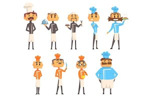 Restaurant Chef Cooks Set Of Man Cartoon Characters In Classic Double Breasted Jacket And Hat
