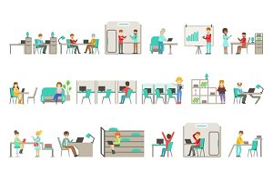 Coworking In Modern Design Office Infographic Illustration Set