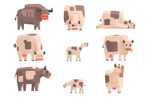 Toy Simple Geometric Farm Cows Standing And Laying While Browsing Set Of Funny Animals Vector Illustrations.