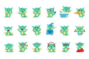 Little Dragon Cute Emoji Set