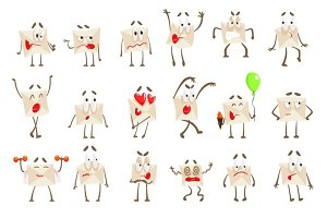 Letter Paper Envelop Cartoon Character Emotion Illustrations Set