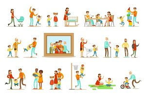 Happy Family Doing Things Together Illustration Surrounding Big Portrait Picture