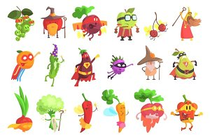 Silly Fantastic Fruit And Vegetable Characters Set