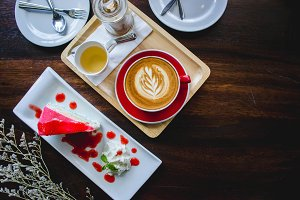 coffee and cake on wood table
