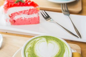 latte green tea coffee cup and cake