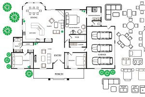 Floor plan with furniture in topview