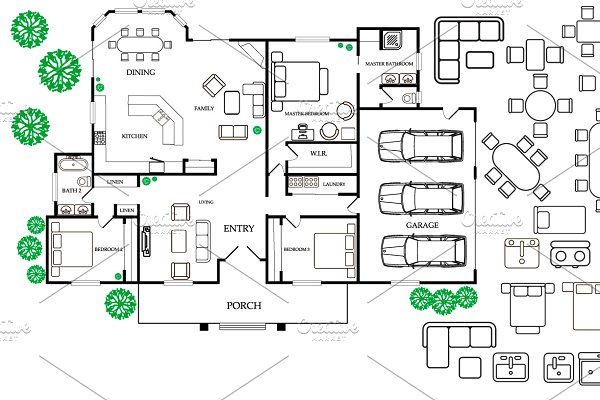 Architecture Floor Plan ToolKit ~ Graphic Objects ~ Creative Market