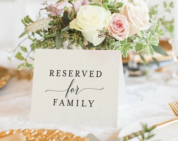 Reserved For Family Wedding Sign