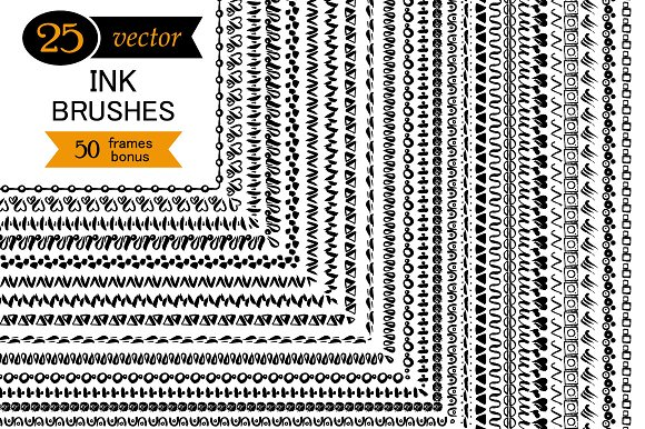 25 Vector Ink Brushes
