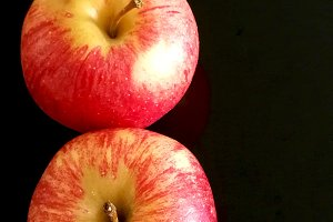 Red apples on row