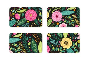 Cute cards set with rustic hand drawn spring floral patterns