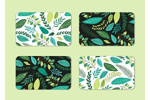 Cute cards set with rustic hand drawn spring botanical patterns
