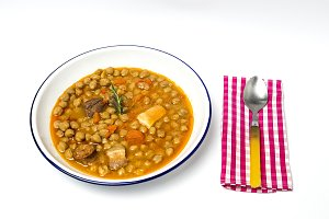 Stew of chickpeas  with sausage