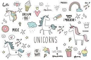 Doodle Unicorn, lettering, patch