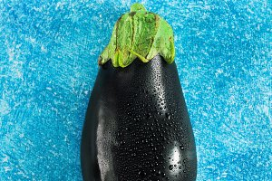 Eggplant on a blue background