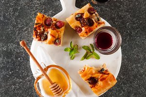focaccia and two glass of red wine