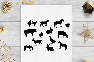 farm animals clip art svg cut file