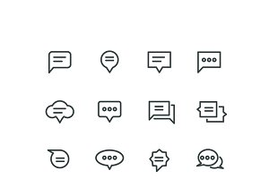 Bubble linear speech icons