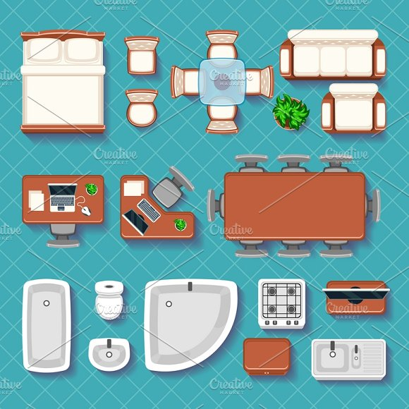 Top View Interior Vector Flat Icons