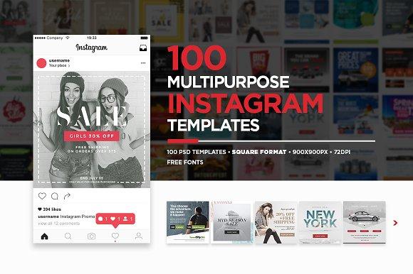 100 Multipurpose Instagram Templates