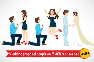 Wedding proposal couple scenes