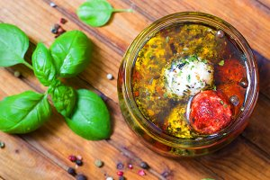 Marinated goat cheese in olive oil