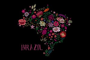 Map of brazil. embroidery