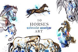 Horse Watercolor Monotype Art