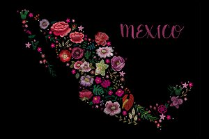 Map of Mexico. embroidery