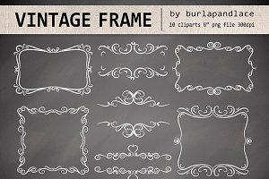 Vector Chalkboard Swirls Frames