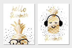 Golden summer greeting cards