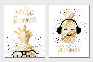 Golden summer greeting cards
