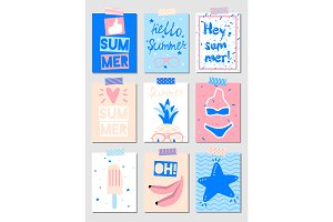 Set of vector summer cards
