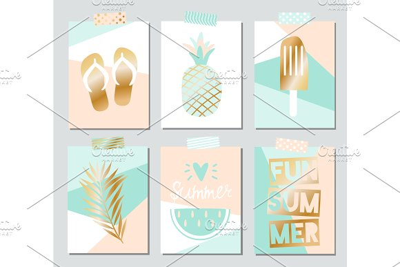 Set Of Six Vector Summer Cards