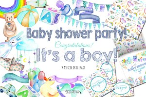 It's a Boy! watercolor clipart