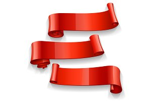 Set of Red Glossy vector ribbons