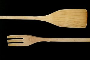Fork and wooden spoon