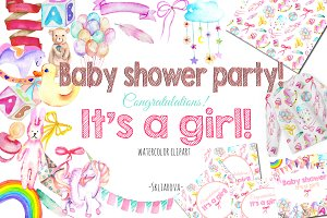 It's a Girl! watercolor clipart