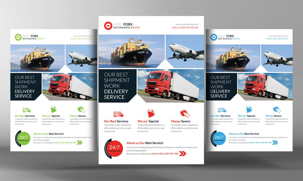 delivery shipment flyer template flyer templates on creative market