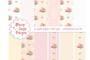 Pink & Yellow Roses digital papers