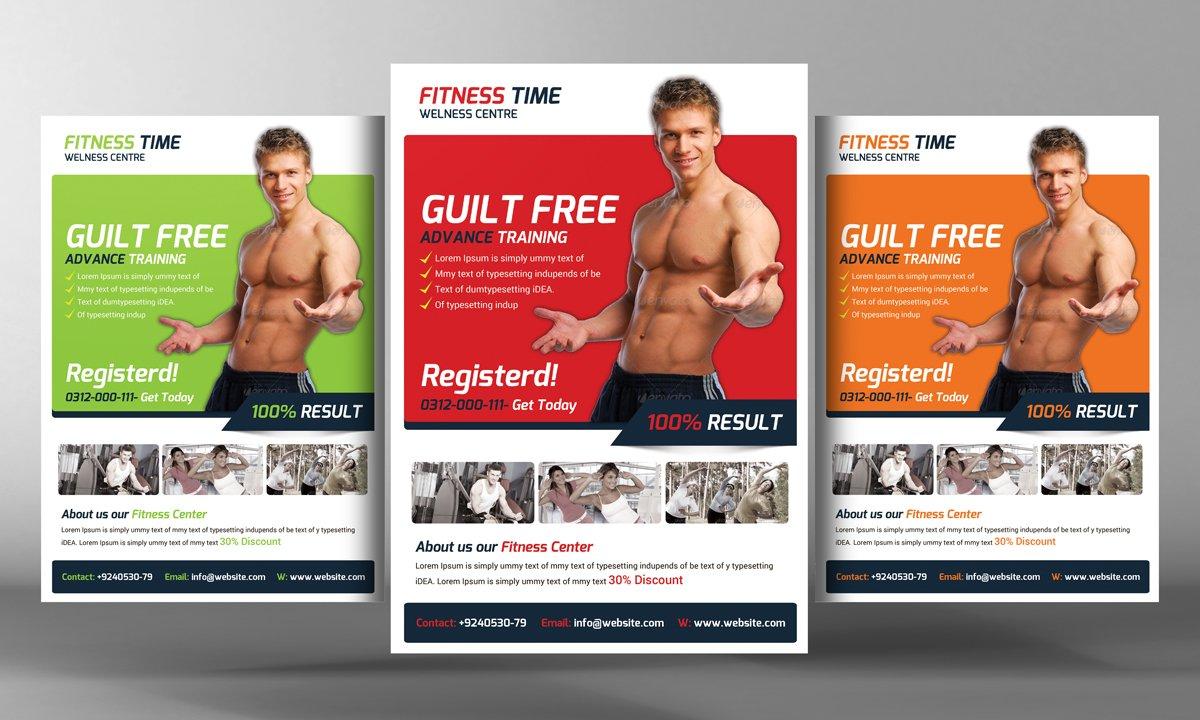 fitness flyer template flyer templates creative market. Black Bedroom Furniture Sets. Home Design Ideas