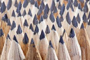 Close up of a pencil nibs.