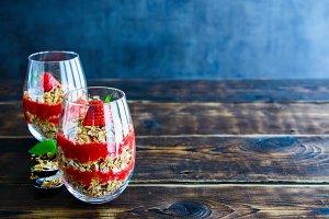 Healthy breakfast glasses